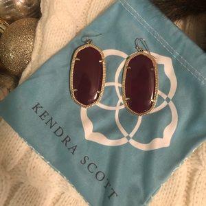 Large Danielle Gold Earrings in Maroon
